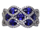 Spark Creation 18kt white gold diamond and sapphire ring with .45ct of diamonds and 2.45ct of sapphires.