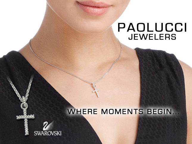 Swarovski clear crystals cross necklace